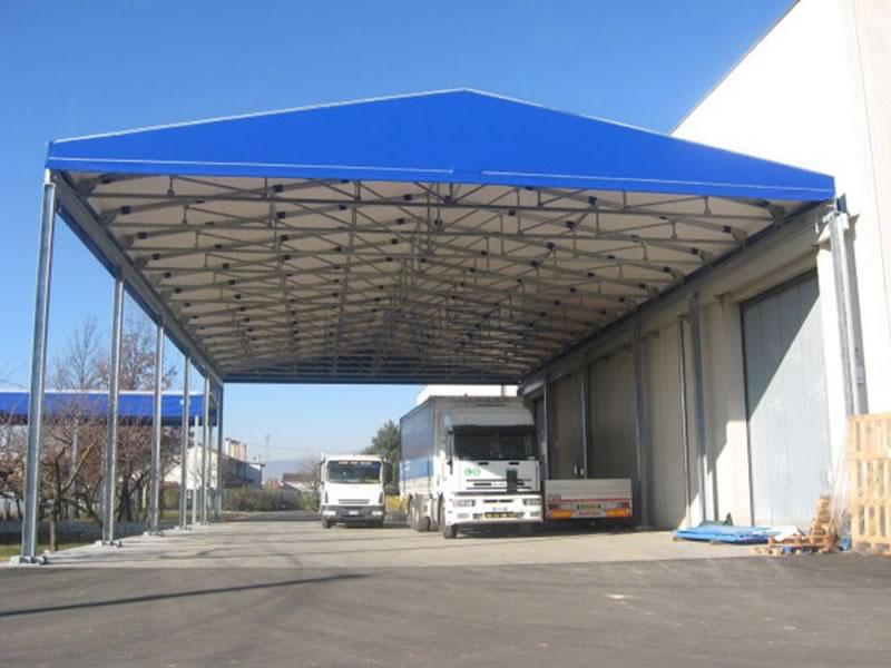 Tettoia mobile tunnel a tettoia kopritutto for Tettoia capannone con soppalco